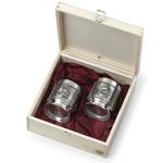 Artina SKS Набор бокалов для виски 2 шт. в деревянной коробке 10512 (олово 95%)