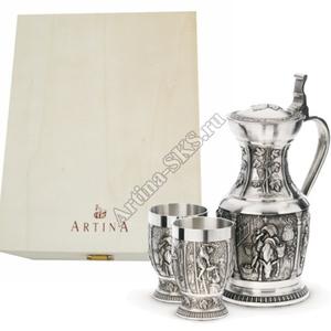 Artina SKS Набор винный (графин + 2 бокала) в деревянной коробке 60049А (олово 95%)