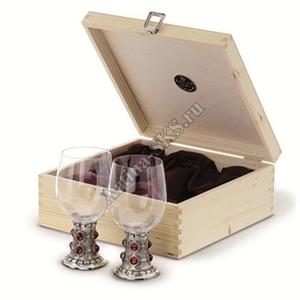 """Artina SKS Бокалы для вина """"Рубин"""" 2 шт. в деревянной коробке 13129А (олово 95% и стекло )"""