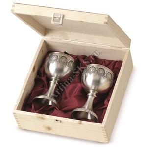 """Artina SKS Набор бокалов для вина в деревянной коробке """"Резиденция"""" 2шт. 16234 (олово 95%)"""