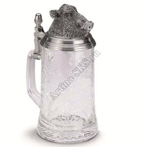 "Artina SKS Кружка для пива ""Кабан"" 93356А (олово 95% и стекло )"